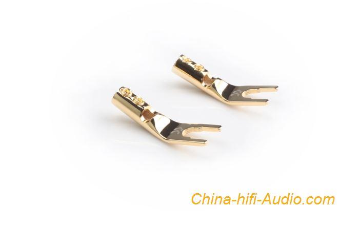 CopperColour CC Hifi audio Y Plug pure copper Gold-plated loudspeaker Connector