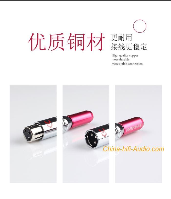 CopperColour CC XLR balanced Connector HiFi audio Alloy-plated pin Female plug