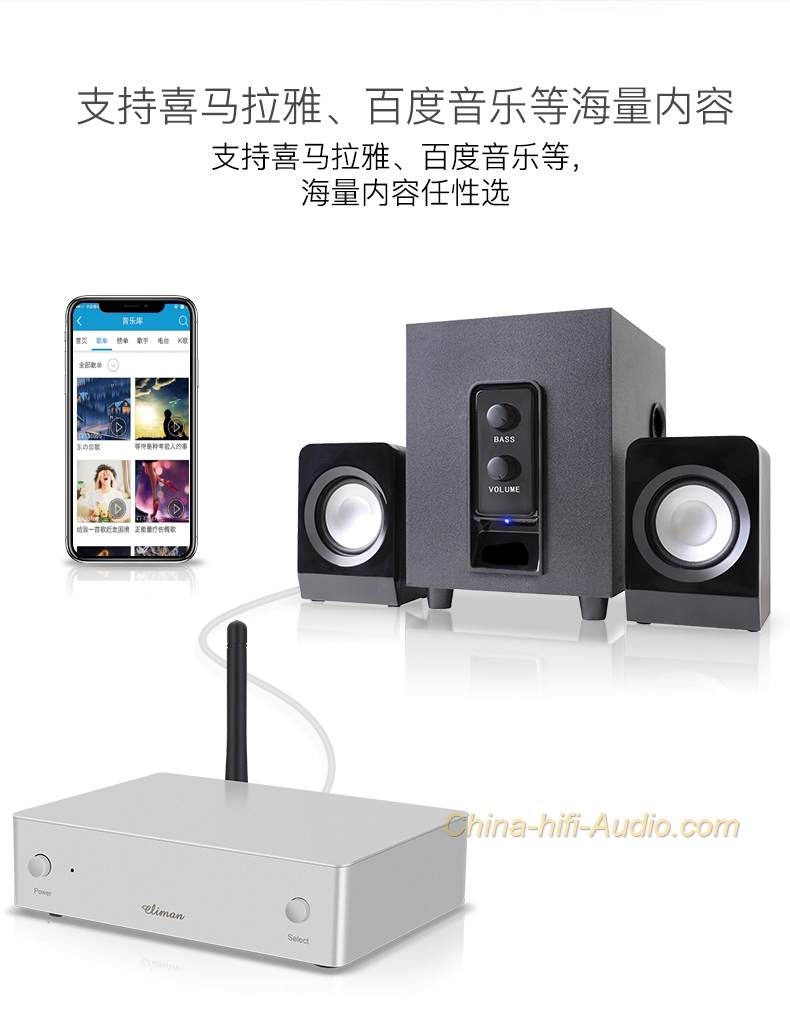 climan wifi wireless bluetooth hifi audio receiver airplay. Black Bedroom Furniture Sets. Home Design Ideas
