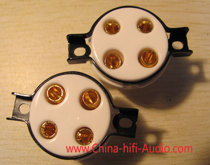 4 pins gold-plate tube socket ceramics mount for 300B 2A3 5Z3P