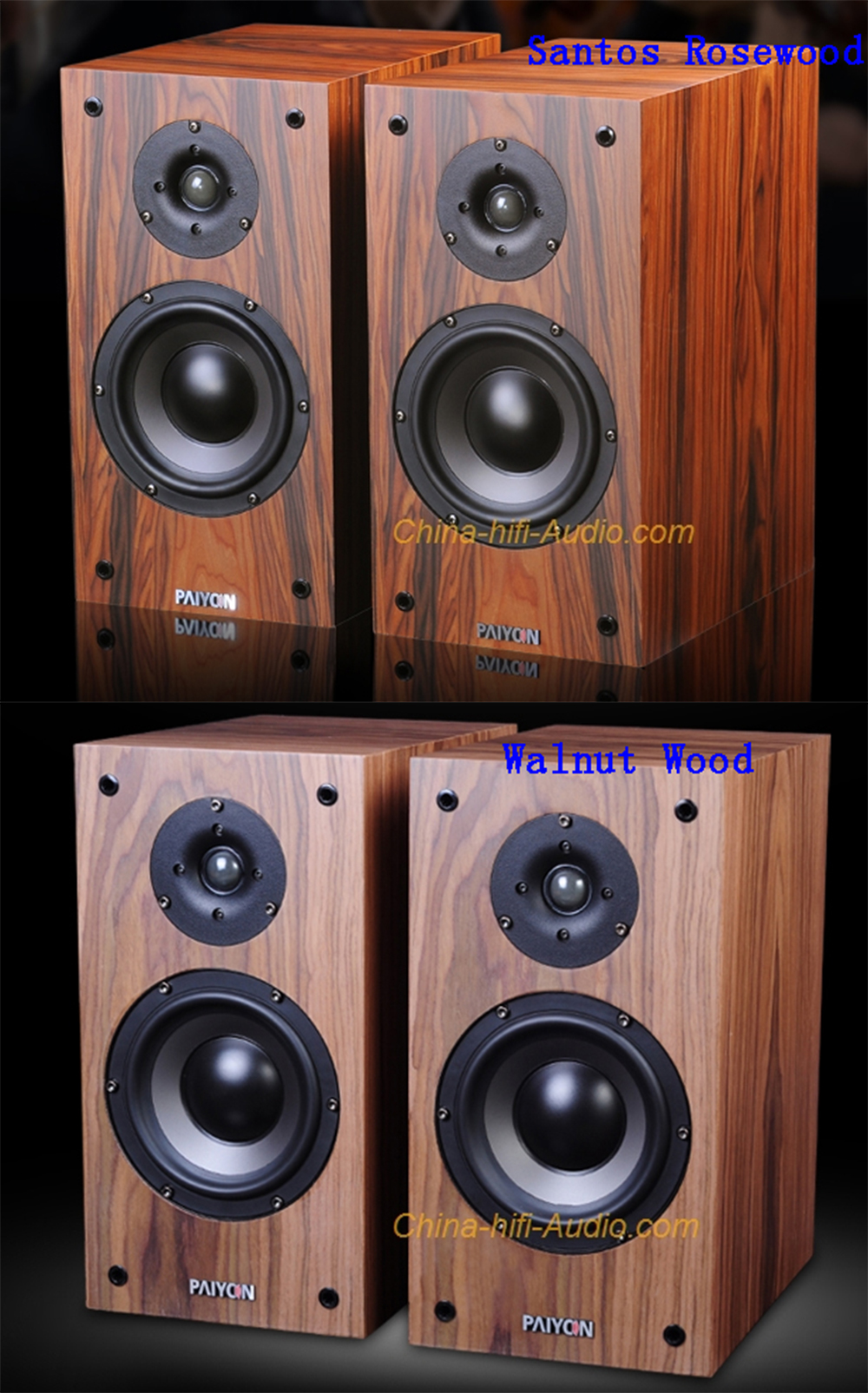 PAIYON P4-2.0 Bookshelf Loudspeaker Audiophile Passive Hi-Fi Audio Speakers Pair - Click Image to Close