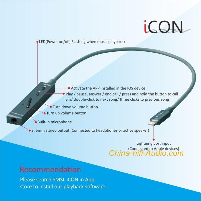 SMSL ICON hifi DAC lightning with headphone amplifier