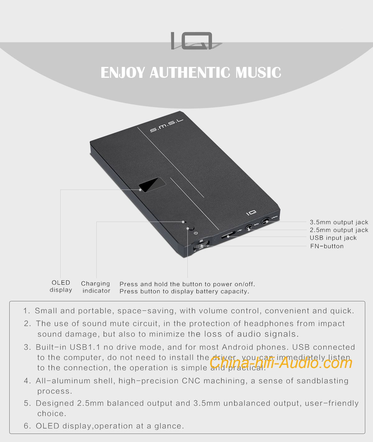 Smsl Iq Hifi Portable Dac Headphone Amplifier Xmos Usb Dsd512 Ra53 Stereo Connection Schematic Hi Res With Dsd Xcore200 Xu208 32bit 768khz 100 Brand New