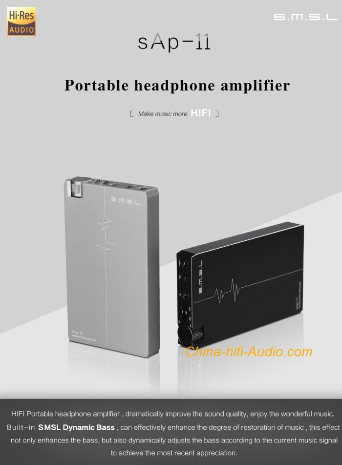 SMSL SAP-11 hifi audio headphone amplifier portable with built-in Volume Control