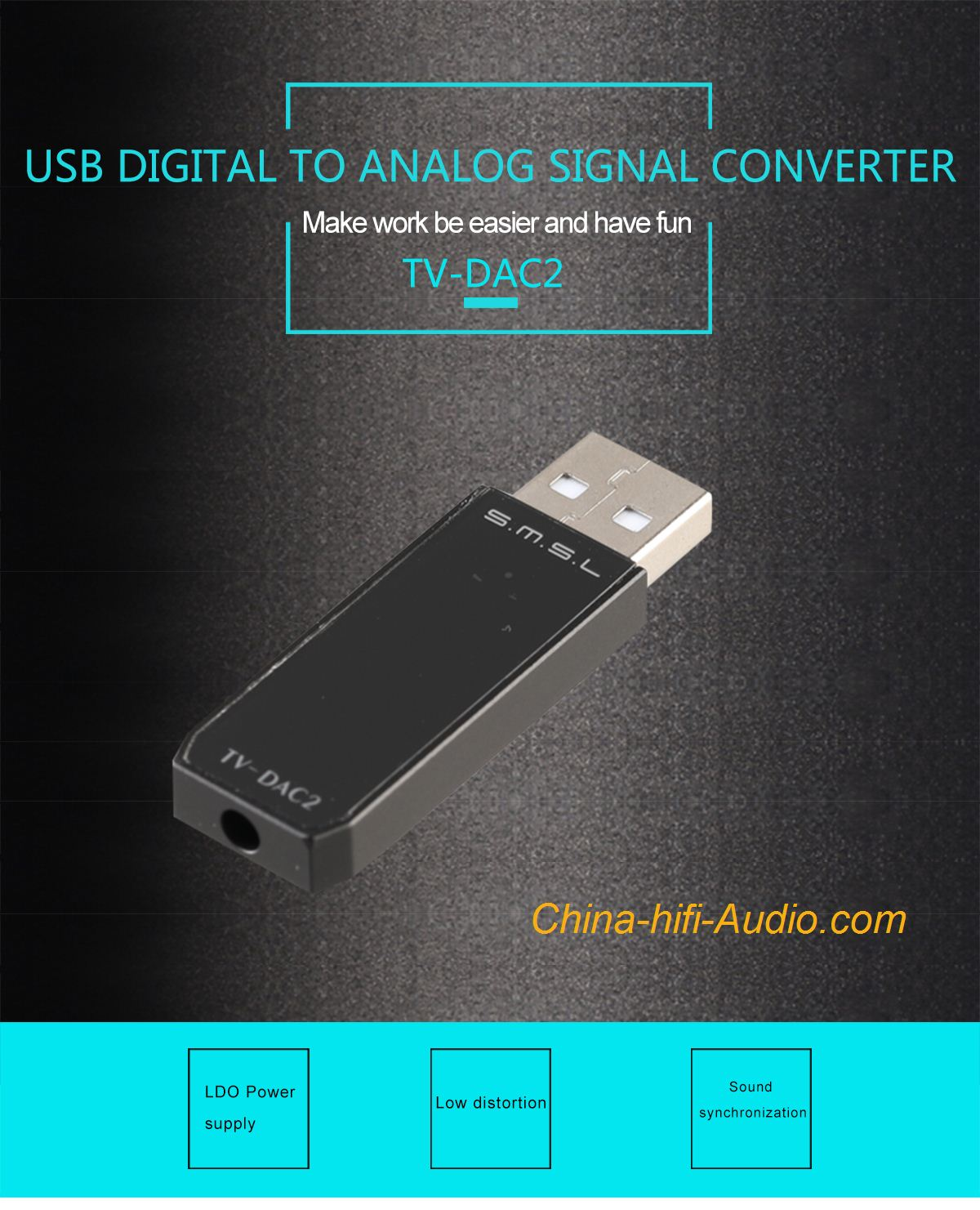 SMSL TV-DAC 2 USB Portable DAC for PC to amplifier get hifi sound