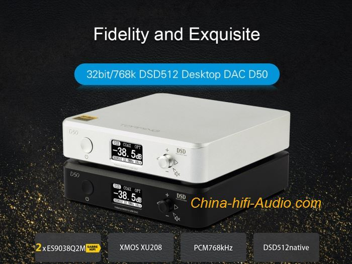 Topping D50 hifi DAC analog to digital converter DSD512 ES9038 Hard Solution
