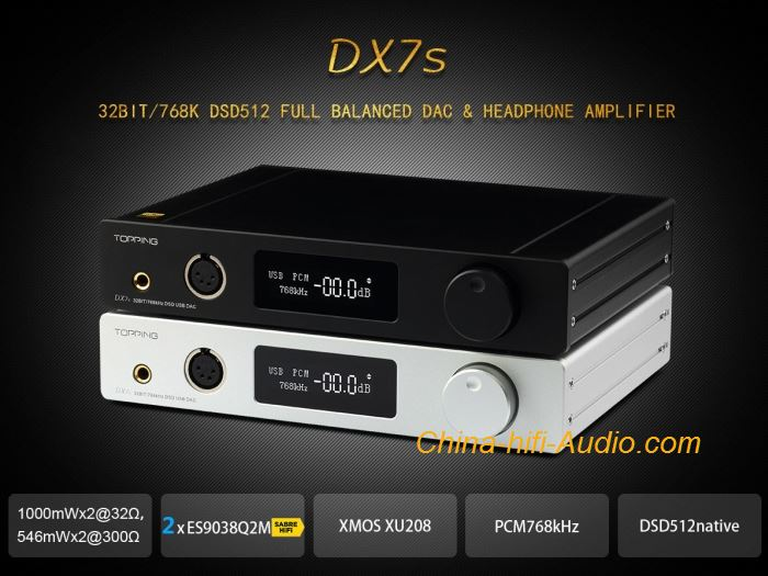 Topping DX7s Full Balanced DAC&Headphone Amplifier Portable support USB DSD512