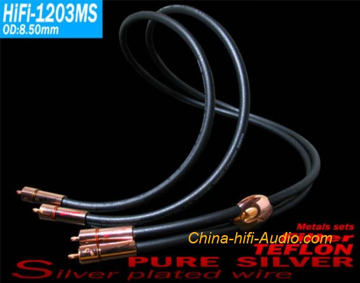 YARBO HiFi-1203MS pure silver audiophile cable 3 core interconnect wire RCA plug