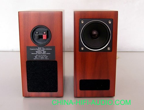 Qinpu V-3 V3 tabletop speaker loudspeakers wood finish pair
