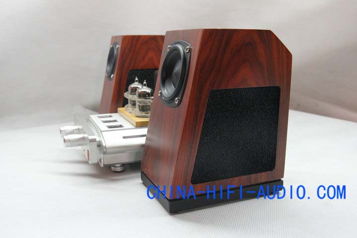 Qinpu V2MKII desktop speakers loudspeakers wood grain pair